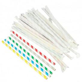 Paille Flexible Papier Assortiment Emballé Ø6mm 230mm (6000 Utés)