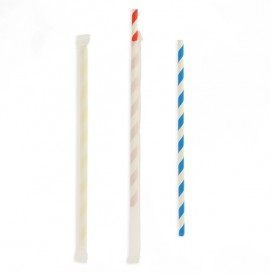 Paille Flexible Papier Assortiment Emballé Ø6mm 230mm (250 Utés)
