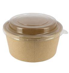 Pot en Carton Kraft avec couvecle PET 25 Oz/750 ml (300 Utés)