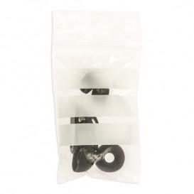 Sac en PE Fermeture zip à bandes blanches 4x6cm G200 (100 Utés)