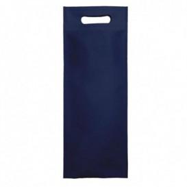 Sac Non-Tissé pour Bouteille Bleu Marine 17+10x40cm (25 Utés)
