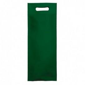 Sac Non-Tissé pour Bouteille Vert 17+10x40cm (25 Utés)
