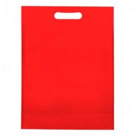 Sac Non-Tissé avec Anses Découpées Rouge 30+10x40cm (25 Utés)