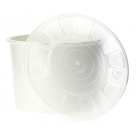 Papieren Container met Plastic Deksel wit PP 736ml (25 stuks)