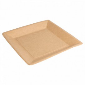 Assiette en Papier Biocoated Naturel Carrée 18cm (20 Utés)