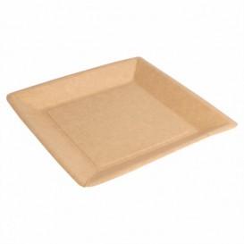 Assiette en Papier Biocoated Naturel Carrée 18cm (400 Utés)