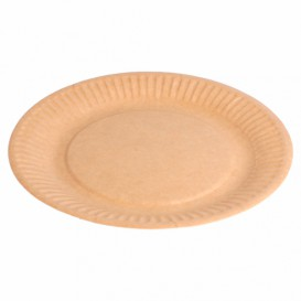 Assiette en Papier Biocoated Naturel Relief Ø18cm (400 Utés)
