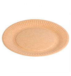 Assiette en Papier Biocoated Naturel Relief Ø18cm (400 Utés)