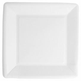 Assiette en Papier Biocoated Blanc Carrée 18cm (20 Utés)