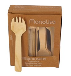 Mini Fourchette en bois Naturel 105mm (100 Unités)