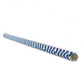 Paille Droite Papier Bleu et Blanc Ø6mm 20cm (100 Utés)