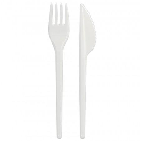 Kit Couverts: Fourchette et Couteau Blanc (1.000 Unités)
