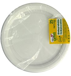 Assiette Amidon Maïs PLA Plate Blanc Ø220 mm (25 Utés)