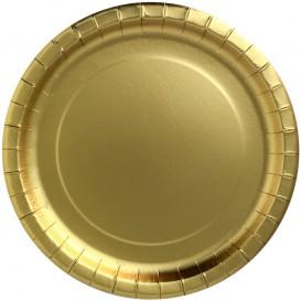 """Papieren bord Rond vormig """"Party Shinen"""" goud Ø34cm (45 stuks)"""