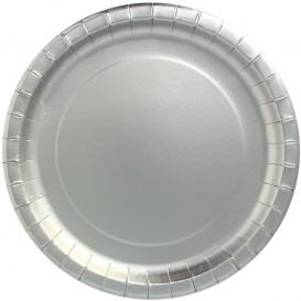 """Assiette ronde Carton """"Party"""" Argenté Ø340mm (45 Unités)"""