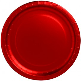 """Papieren bord Rond vormig """"Party"""" rood Ø34cm (3 stuks)"""