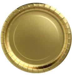 """Assiette ronde Carton """"Party Shiny"""" Or Ø180mm (10 Unités)"""