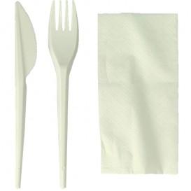Kit Fourchette, Couteau, Serviette Amidon Maïs PLA (250 Utés)