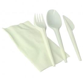 Kit Fourchette, Cuillère, Couteau, Serviette Amidon Maïs PLA (100 Utés)