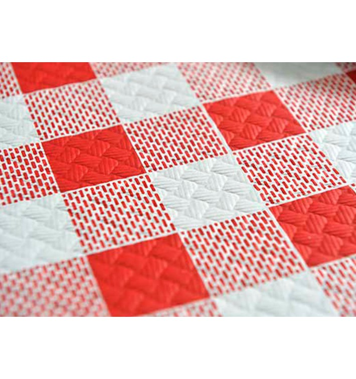 """Nappe en papier 1,2x1,2m """"Carrés Rouges"""" 40g (300 Unités)"""