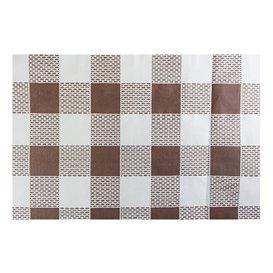 Voorgesneden papieren tafelkleed bruin Checkers 40g 1x1m (400 stuks)