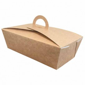 "American Box with handles ""Doggy Bag"" Kraft 16x9,5x6cm (25 Units)"