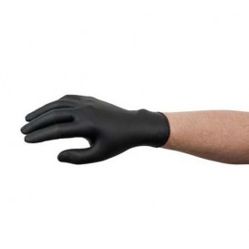 Gants en Nitrile sans Poudre Noir Taille M AQL 1.5 (100 Utés)
