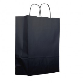 Papieren zak met handgrepen kraft zwart 100g 25+11x31cm (200 eenheden)