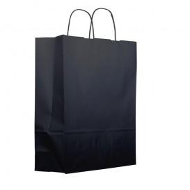 Papieren zak met handgrepen kraft zwart 100g 25+11x31cm (25 eenheden)
