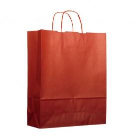 Sac en Papier Kraft Rouge avec Anses 100g 25+11x31cm (200 Utés)