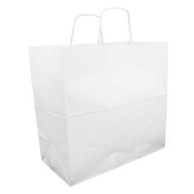Sac en papier Kraft Blanc avec Anses 100g 35+15x30cm (25 Utés)