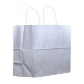 Sac en Papier Kraft Blanc avec Anses 100g 27+14x26cm (25 Utés)