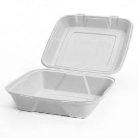 """Suikerriet Gescharnierd Container """"Menu Box"""" wit 24x23x7,7cm (50 stuks)"""