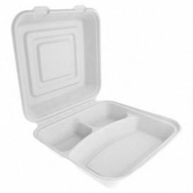 """Suikerriet Gescharnierd Container """"Menu Box"""" wit 3C 24x23x7,6cm (50 stuks)"""
