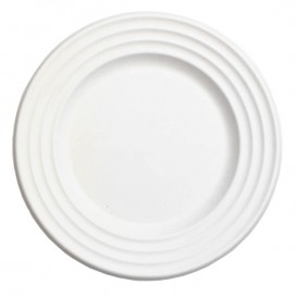 Suikerriet bord Premium Wave wit Ø18cm (50 stuks)
