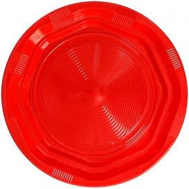 Plastic bord Achthoekig Rond vormig rood Ø22cm (25 stuks)