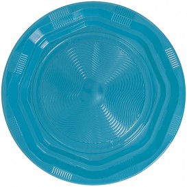Plastic bord Achthoekig Rond vormig lichtblauw Ø22 cm (25 stuks)