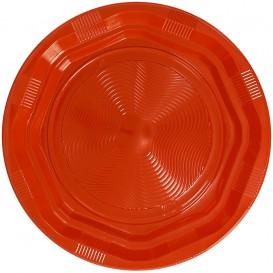 Plastic bord Achthoekig Rond vormig oranje Ø22 cm (25 stuks)