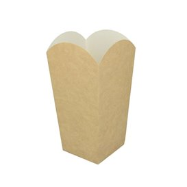 Paper Popcorn Box Small Size Kraft 45g 6,5x8,5x15cm (25 Units)