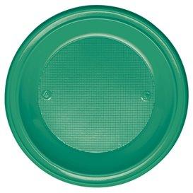 Plastic bord PS Diep groen Ø22 cm (30 stuks)