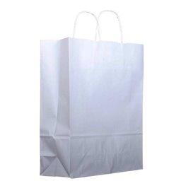 Papieren zak met handgrepen kraft wit 100g 22+11x27 cm (200 stuks)