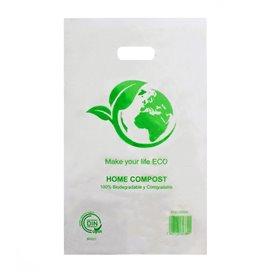 Plastic zak met gestanst handvat 100% Biologisch afbreekbaar 20x33cm (3000 stuks)