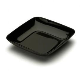 Plastic PS proefschotel zwart 6x6x1 cm (50 stuks)