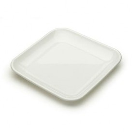 Assiette Carrée pour Dégustation Blanc 6x6x1cm (200 Utés)