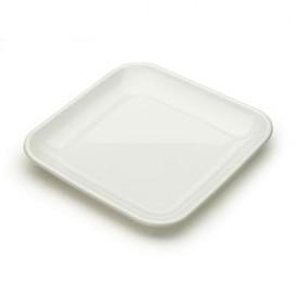 Plastic PS proefschotel wit 6x6x1 cm (50 stuks)