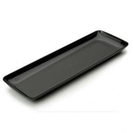 Assiette Rectangulaire Noire pour Dégustation 6x19cm (200 Utés)