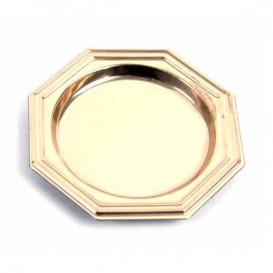 Plastic Proeving mini bord PS Dessert Achthoekig goud 8 cm (125 eenheden)