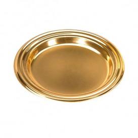Plastic Proeving mini bord PS Dessert Rond vormig goud 8 cm (1000 eenheden)