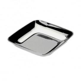 Plastic PS proefschotel zilver 6x6x1 cm (50 stuks)