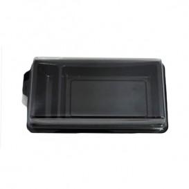 Plastic sushi Container PET zwart 14,8x7,8 cm (10 stuks)